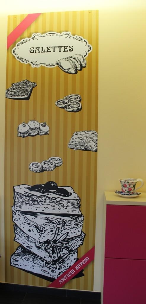 pannello Galettes personalizzato per panificio pasticceria Antichi Sapori