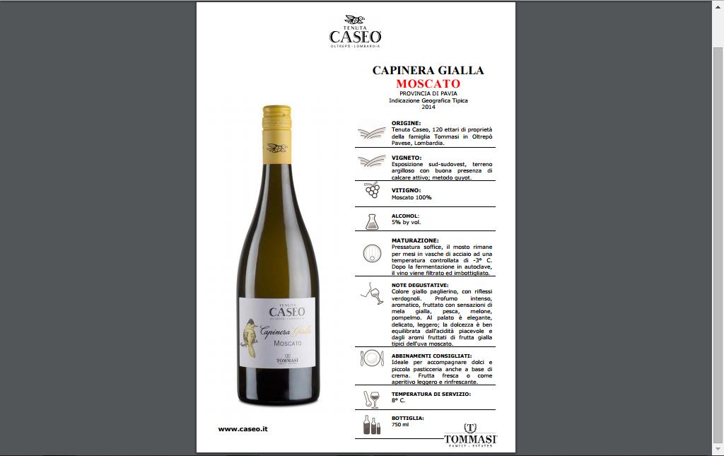 scheda tecnica vino Moscato Capinera Gialla Oltrepò Pavese Tenuta CASEO Lombardia